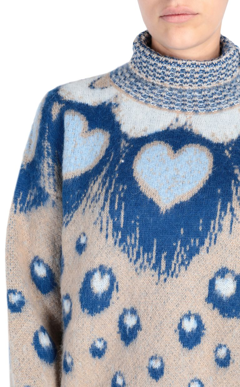 JUST CAVALLI Oversized heart sweater High neck sweater Woman e
