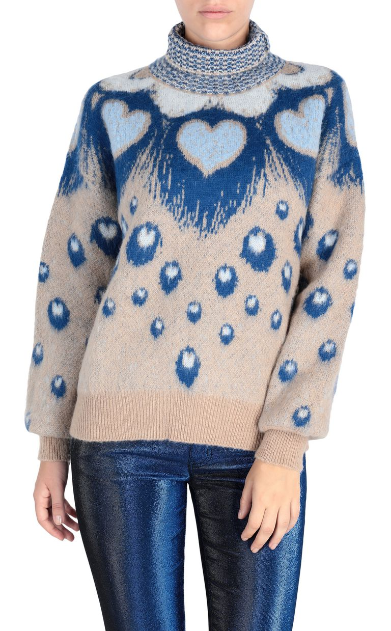JUST CAVALLI Oversized heart sweater High neck sweater Woman f