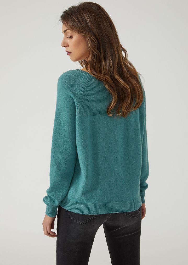 6f74ff63896f09 V-neck cashmere blend jumper   Woman   Emporio Armani
