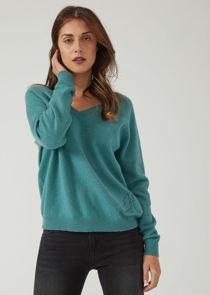 d527f18f323034 V-neck cashmere blend sweater   Woman   Emporio Armani