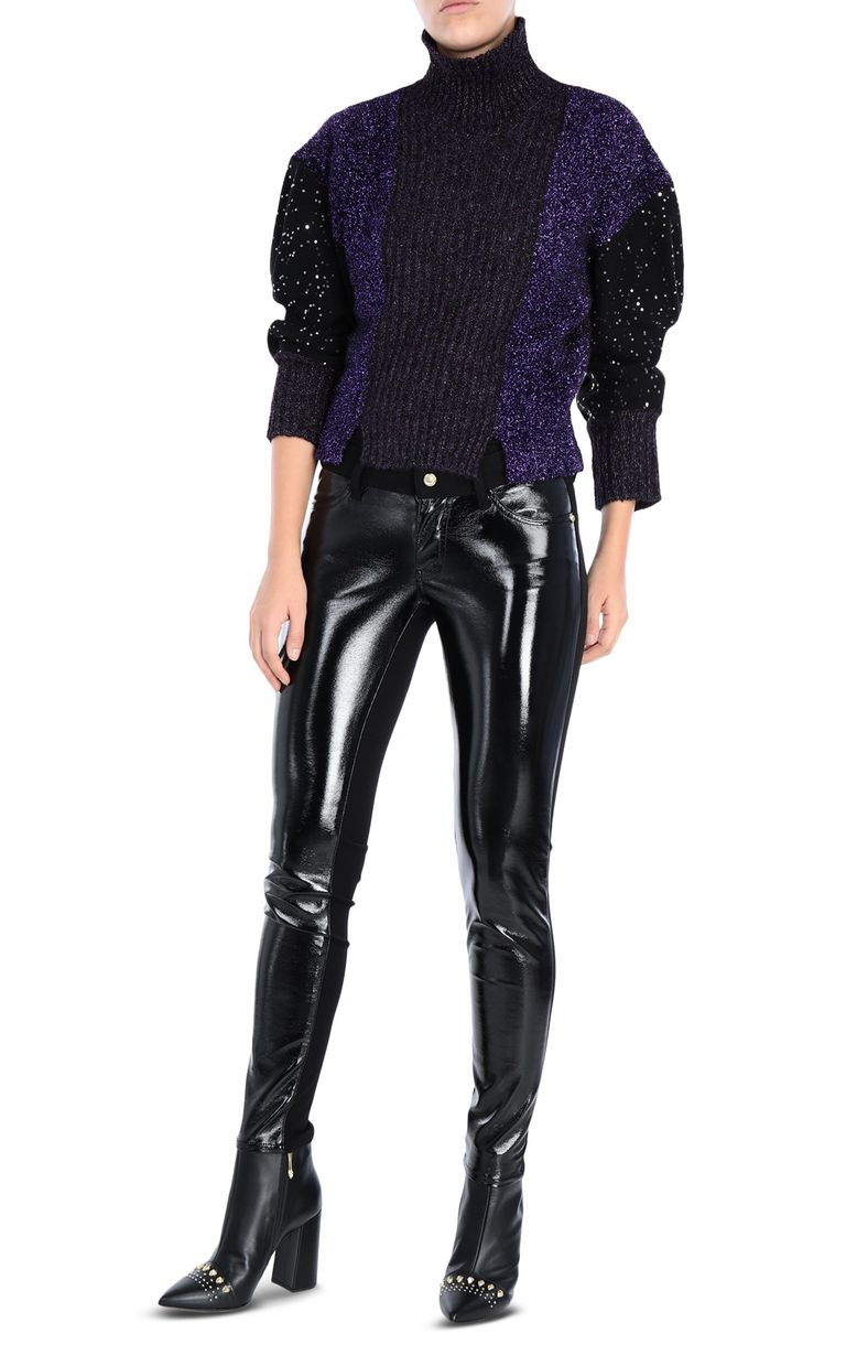 JUST CAVALLI Shiny high-neck pullover Long sleeve sweater [*** pickupInStoreShipping_info ***] r