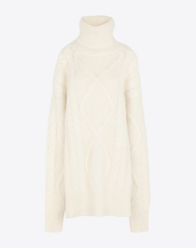 MAISON MARGIELA High neck [*** pickupInStoreShipping_info ***] Diamond braided oversized knitted jumper  f