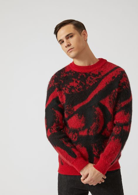 Mohair wool blend sweater with brushed two-tone jacquard design