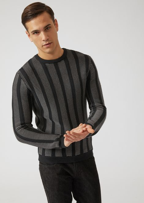 Pure virgin wool striped jacquard sweater