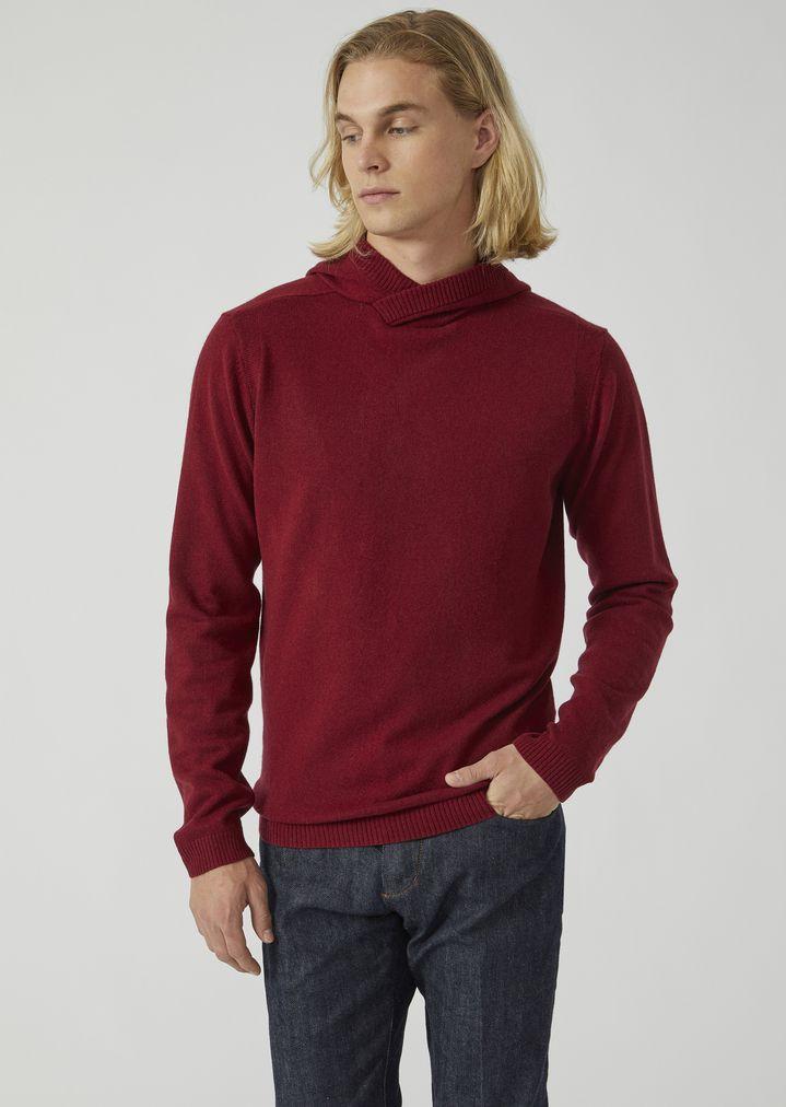 Pull à capuche en jersey de laine vierge et cachemire   Homme   Emporio  Armani 7655ac78bde0