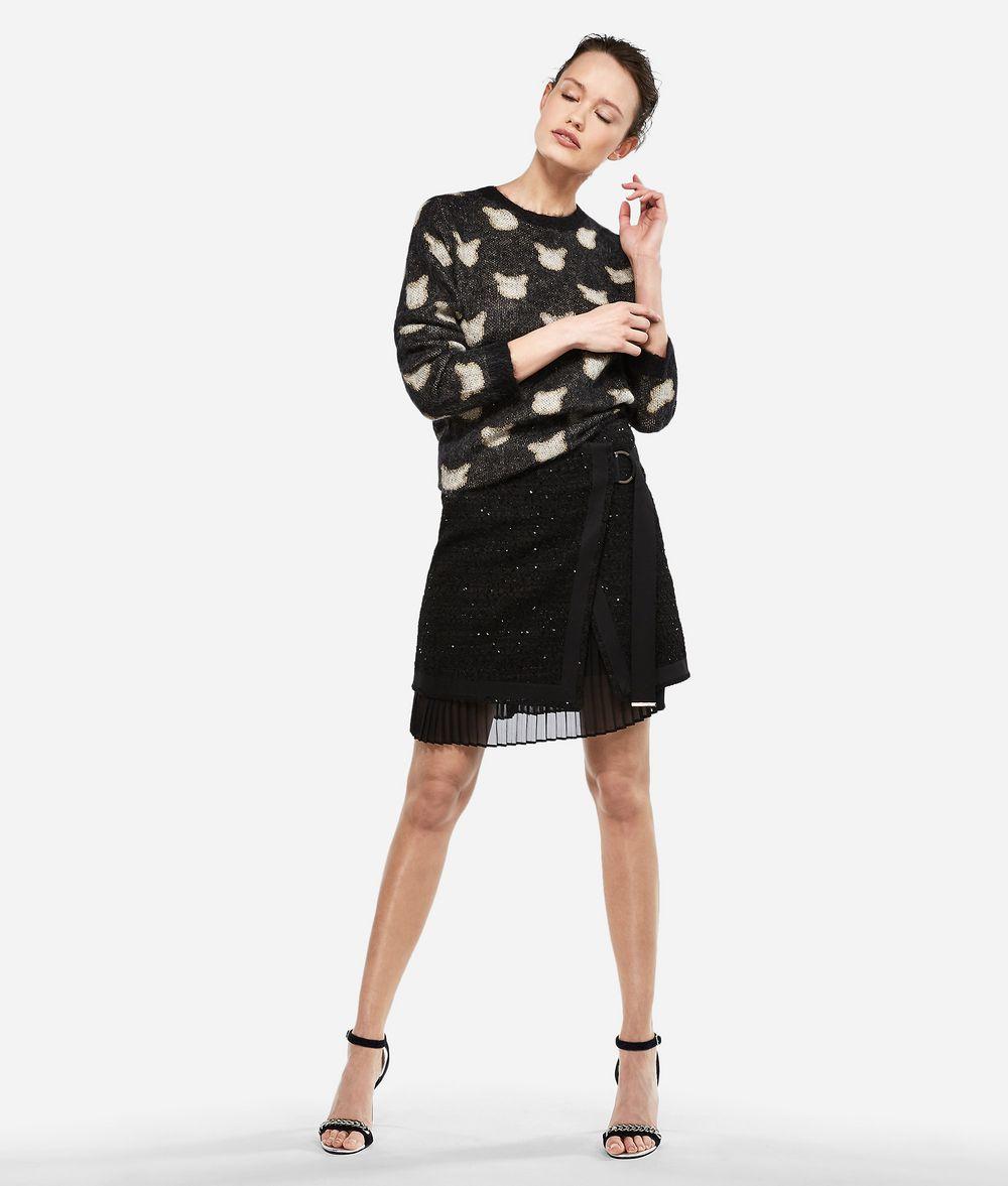 KARL LAGERFELD Pullover aus Wolle-Mohair-Mix im Choupette-Design Pullover Damen f