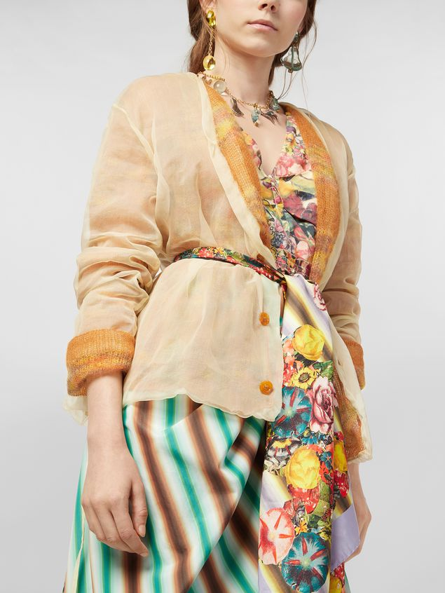 Marni Cardigan in mohair and silk with organza outer shell Woman - 4