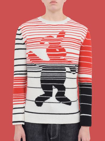Marni Crew-neck knit in pure virgin wool with Dance Bunny inlay Woman