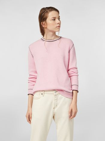 Marni Knit in embroidered pink and black cashmere  Woman