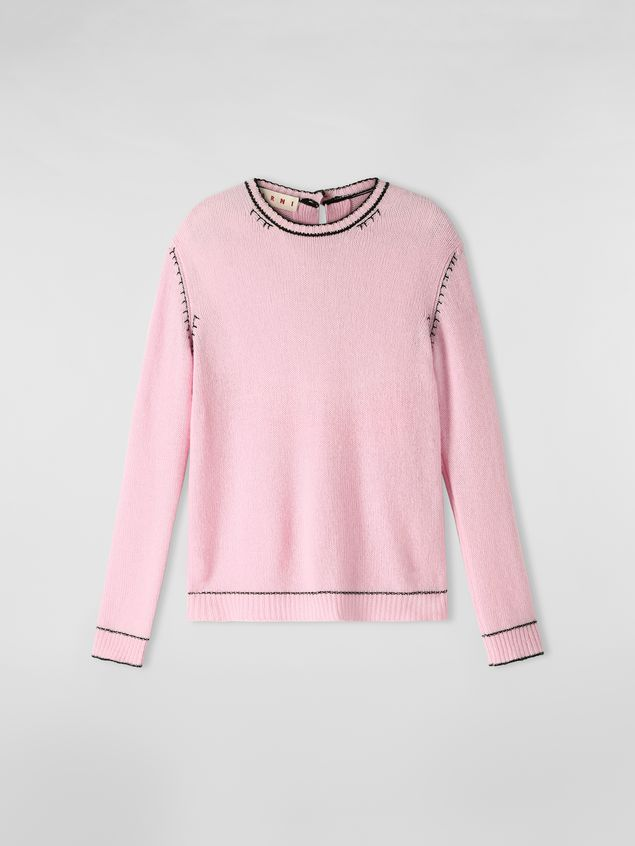 Marni Knit in embroidered pink and black cashmere  Woman - 2