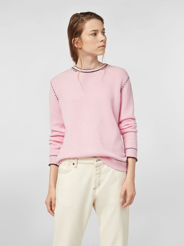 Marni Knit in embroidered pink and black cashmere  Woman - 1