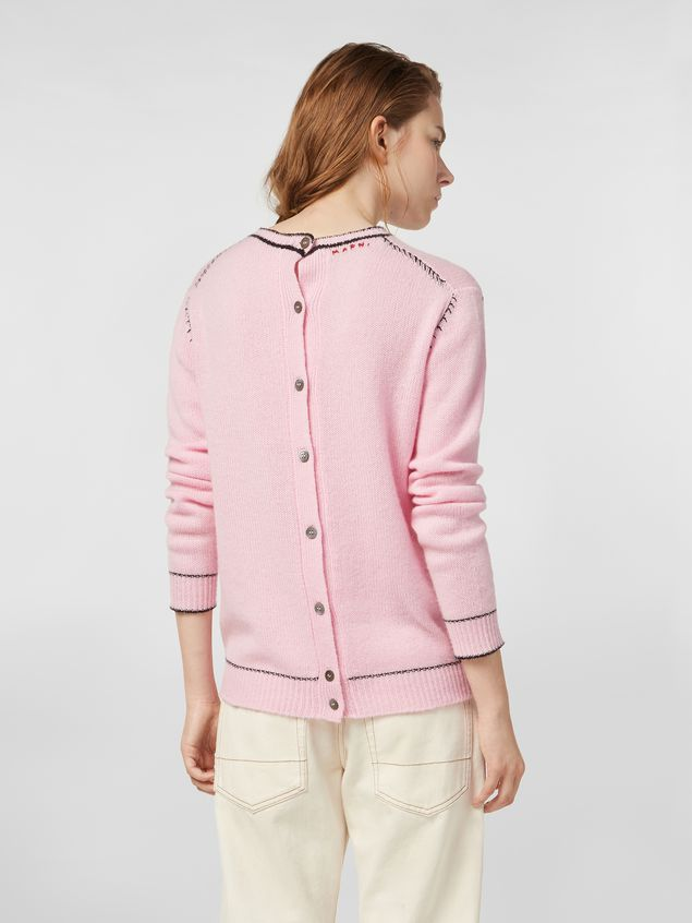 Marni Knit in embroidered pink and black cashmere  Woman - 3