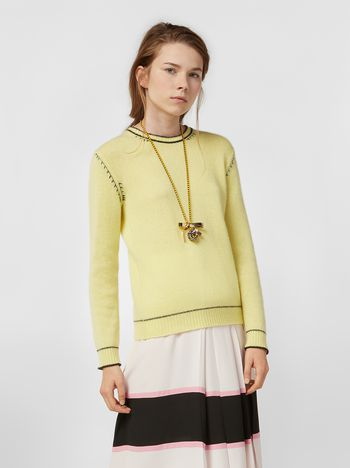 Marni Knit in embroidered yellow and black cashmere  Woman