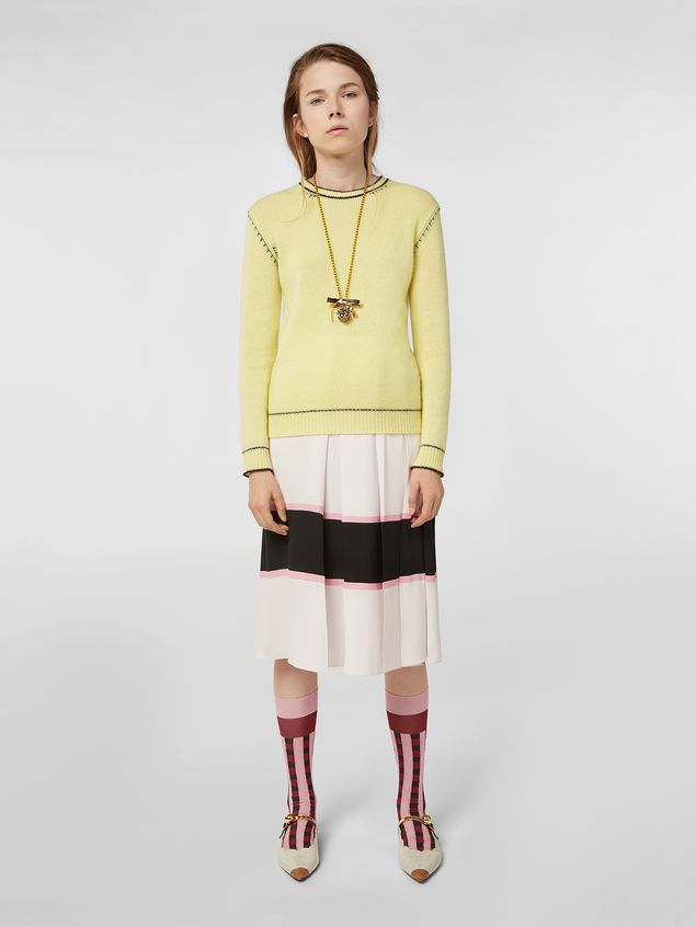 Marni Knit in embroidered yellow and black cashmere  Woman - 5