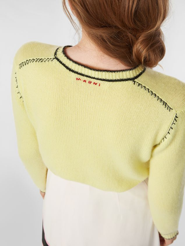 Marni Knit in embroidered yellow and black cashmere  Woman - 4