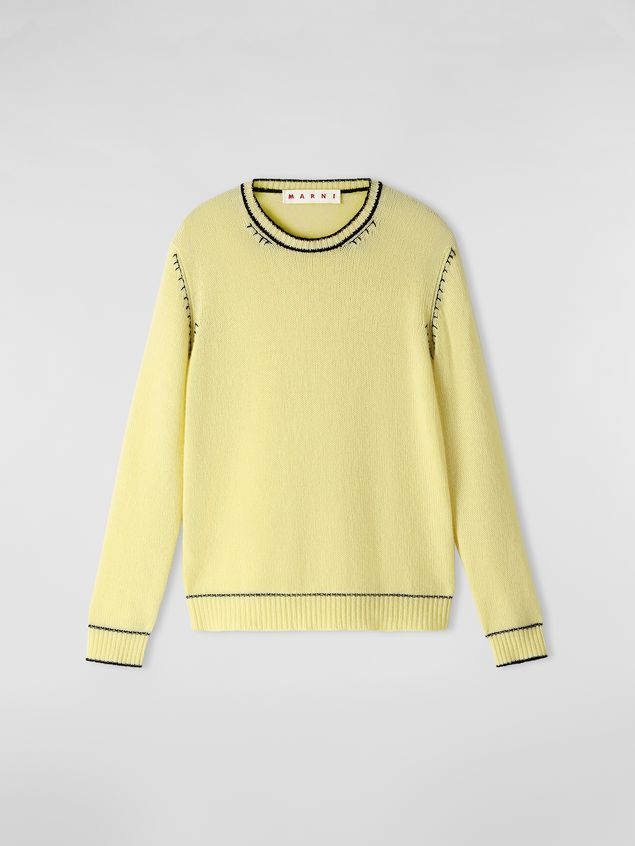 Marni Knit in embroidered yellow and black cashmere  Woman - 2