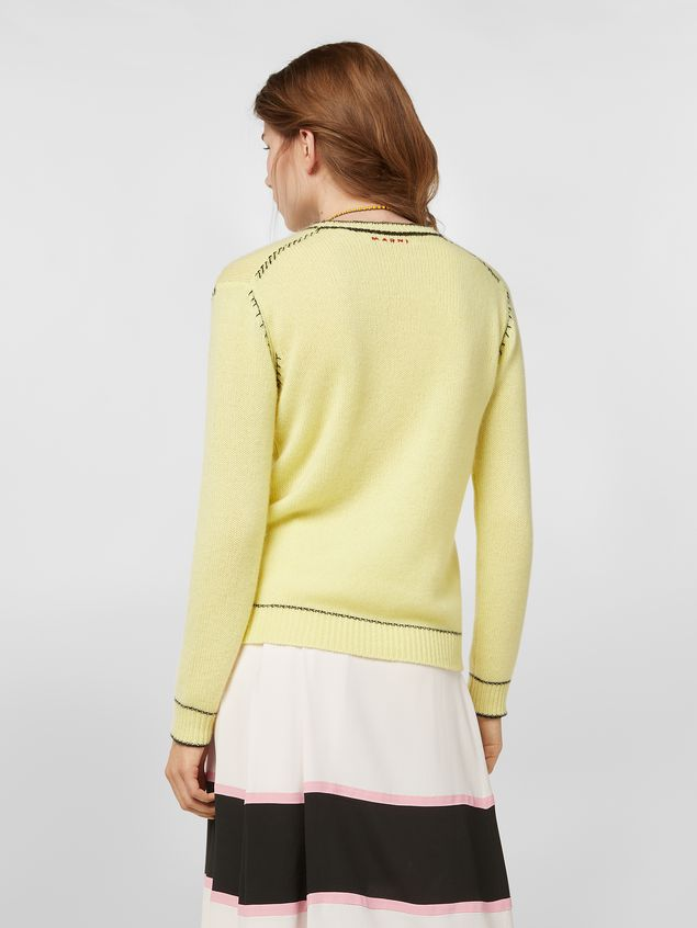 Marni Knit in embroidered yellow and black cashmere  Woman - 3