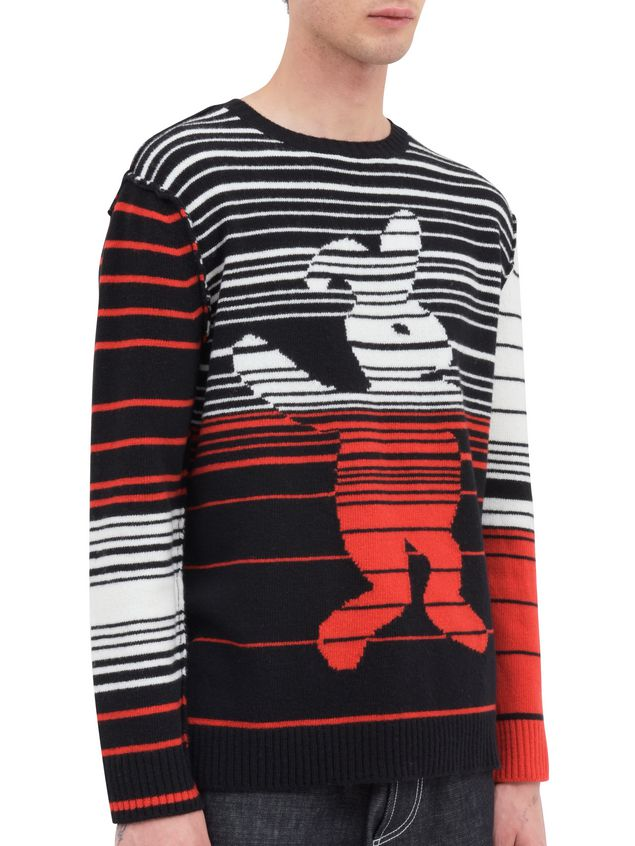 Marni Crew-neck knit in wool with Dance Bunny inlay Man - 2