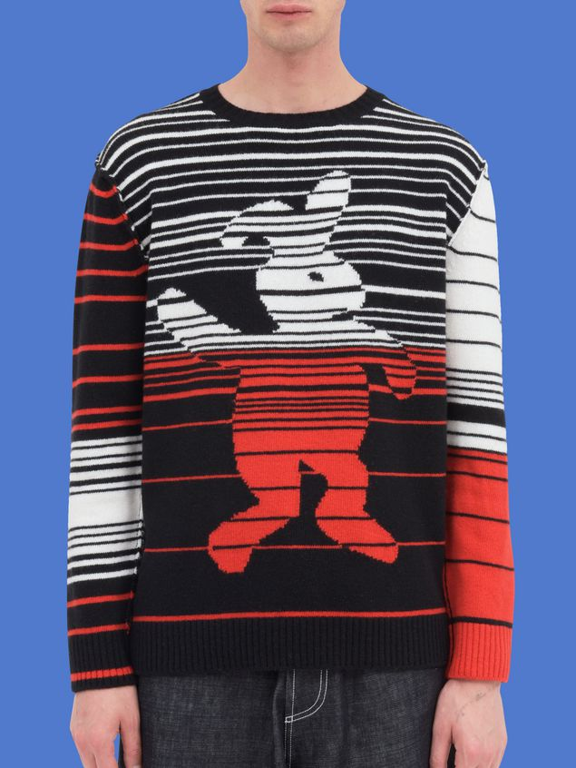 Marni Crew-neck knit in wool with Dance Bunny inlay Man - 1