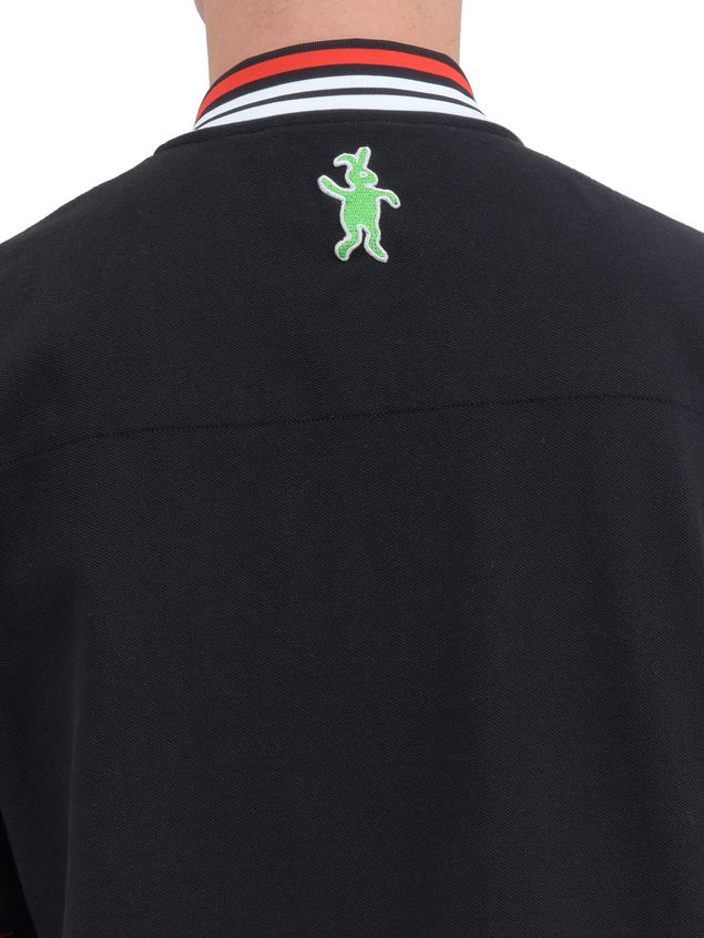 Marni Polo-shirt in black piqué with striped neck and sleeves Man - 4