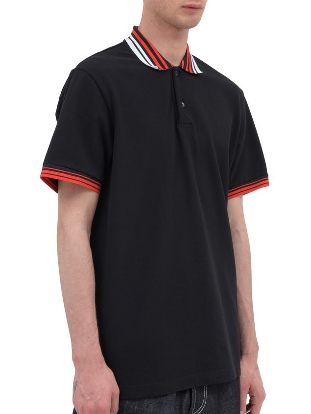 Marni Polo-shirt in black piqué with striped neck and sleeves Man - 2