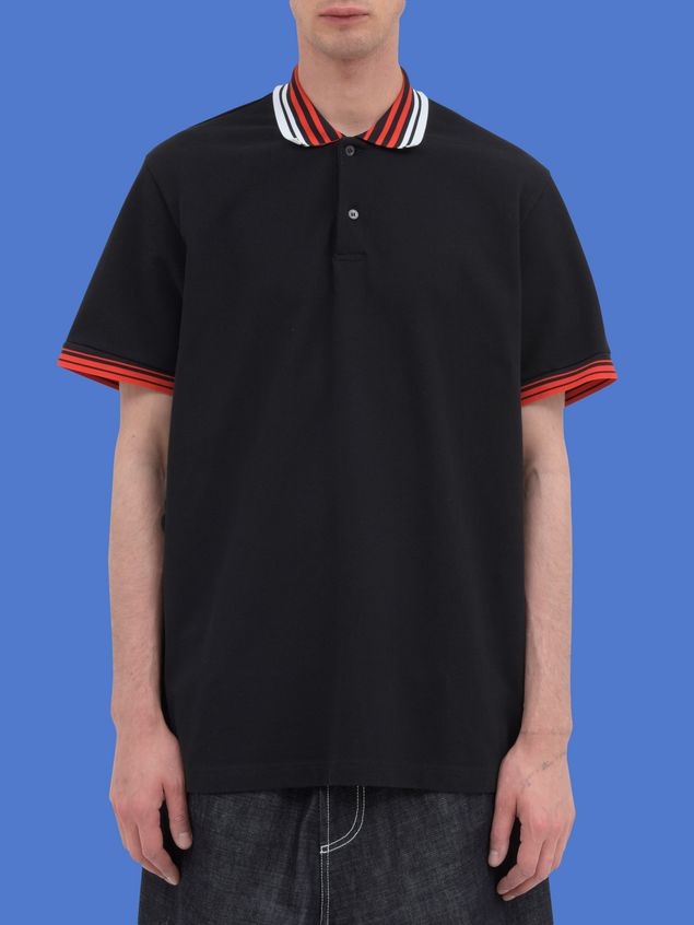 Marni Polo-shirt in black piqué with striped neck and sleeves Man - 1