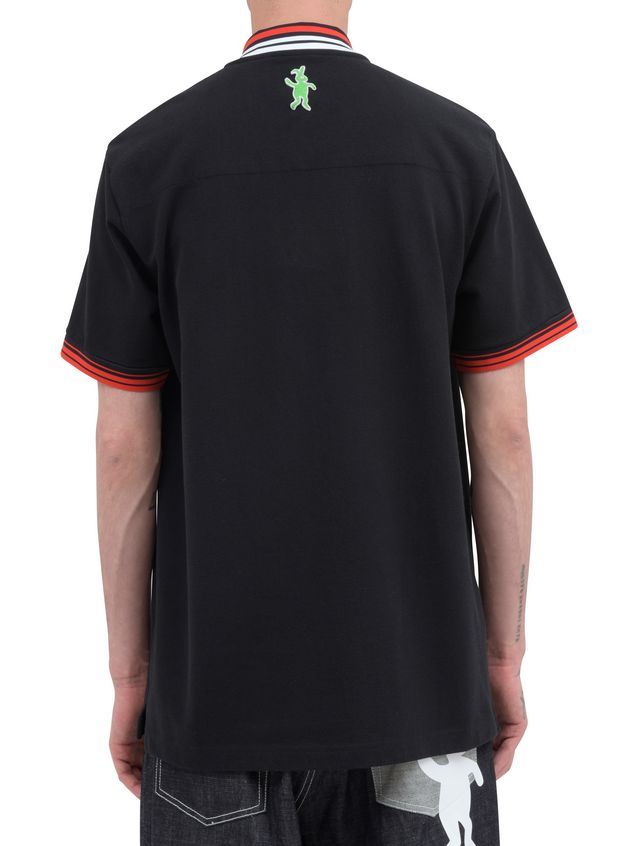 Marni Polo-shirt in black piqué with striped neck and sleeves Man - 3