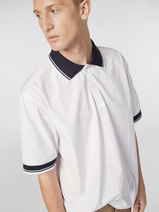 Marni Polo shirt in yarn-dyed pinstriped poplin Man - 4
