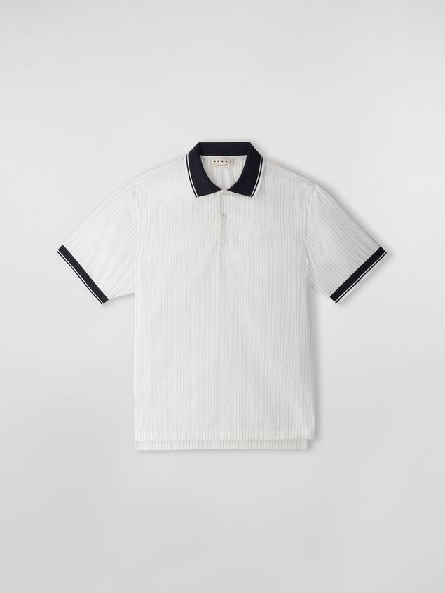 Marni Polo shirt in yarn-dyed pinstriped poplin Man - 2