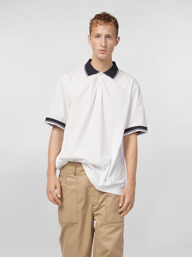 Marni Polo shirt in yarn-dyed pinstriped poplin Man - 1