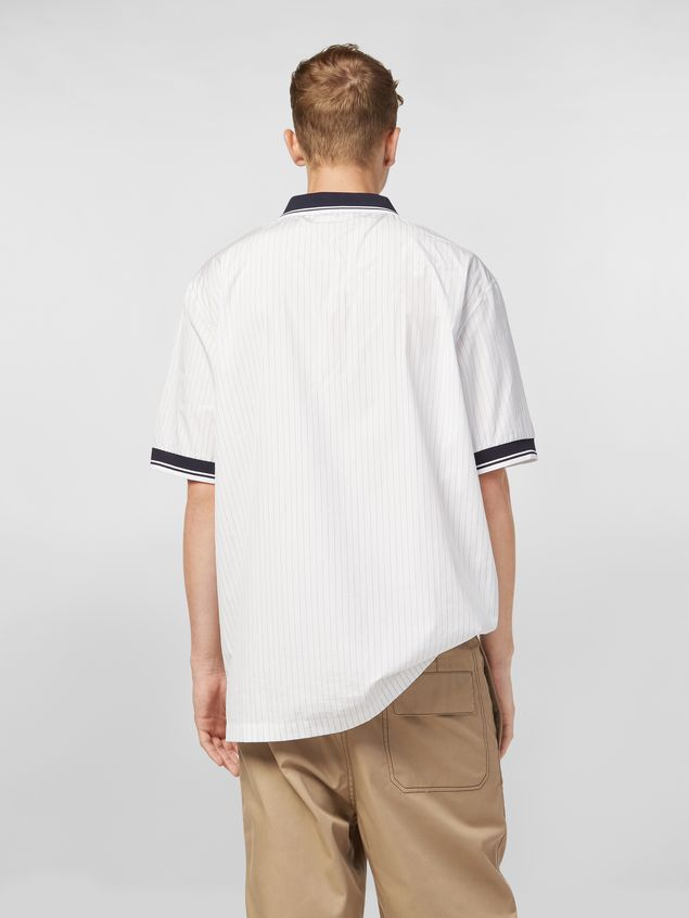 Marni Polo shirt in yarn-dyed pinstriped poplin Man - 3
