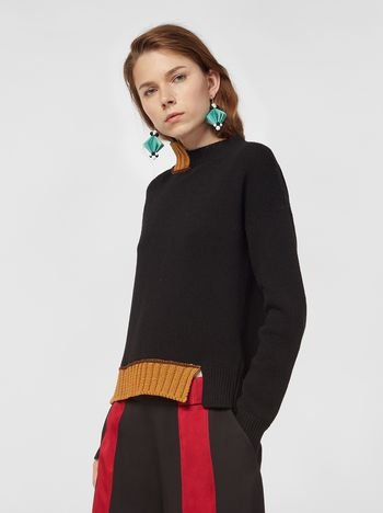 Marni Turtleneck knit in black and brown virgin wool and cotton  Woman