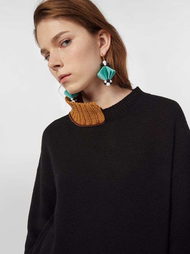 Marni Turtleneck knit in black and brown virgin wool and cotton  Woman - 4
