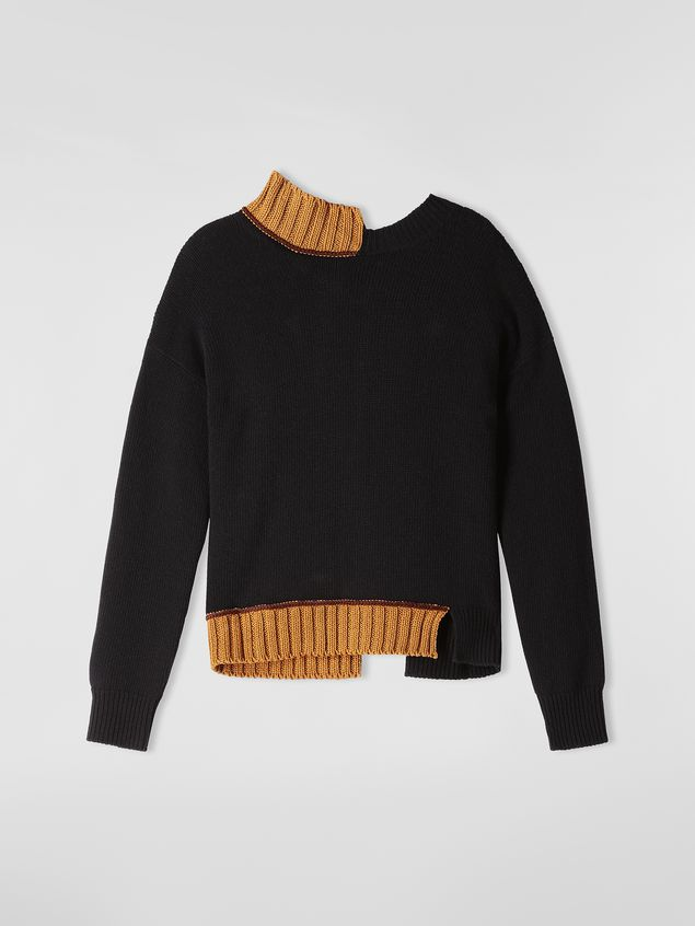 Marni Turtleneck knit in black and brown virgin wool and cotton  Woman - 2