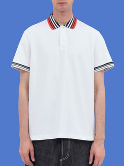 Marni Polo-shirt in white piqué with striped neck and sleeves Man