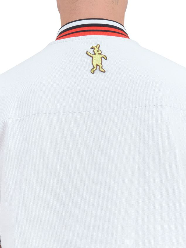 Marni Polo-shirt in white piqué with striped neck and sleeves Man - 4