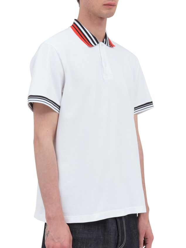 Marni Polo-shirt in white piqué with striped neck and sleeves Man - 2