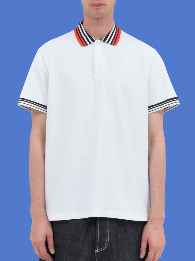 Marni Polo-shirt in white piqué with striped neck and sleeves Man - 1