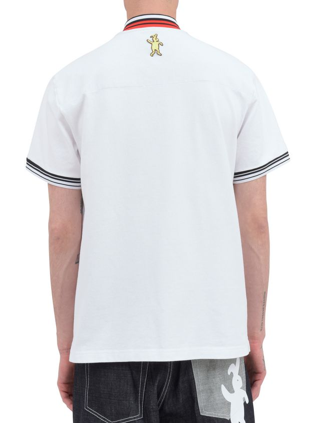 Marni Polo-shirt in white piqué with striped neck and sleeves Man - 3