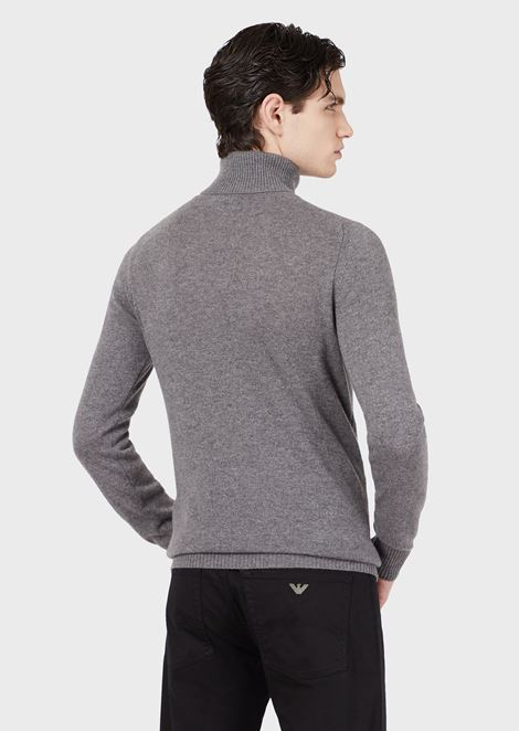 Polo neck sweater in pure cashmere