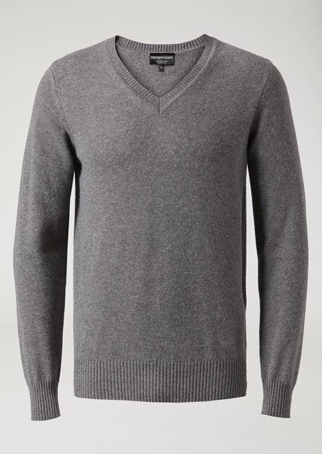 V-neck pure cashmere sweater