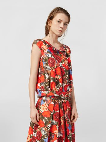 Marni Top in cotton cady with Duncraig print Woman
