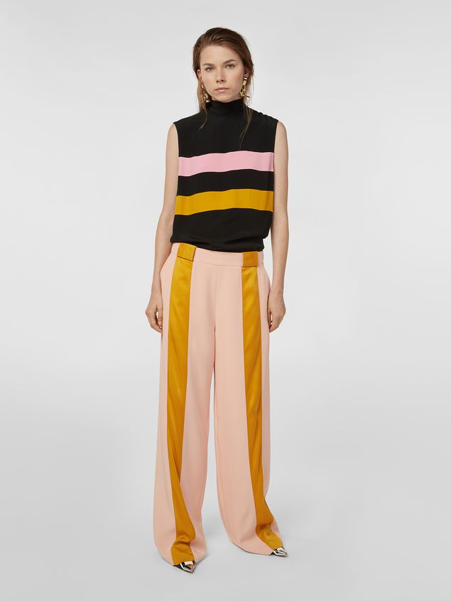 Marni Contrast-band top in washed crepe Woman - 5