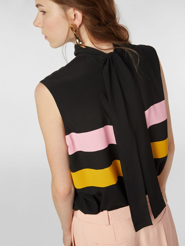 Marni Contrast-band top in washed crepe Woman - 4