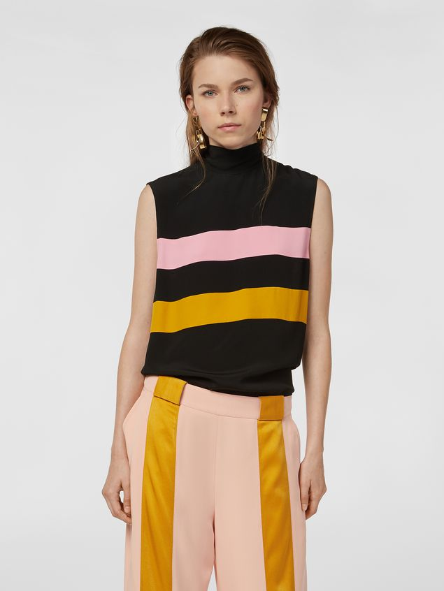 Marni Contrast-band top in washed crepe Woman - 1