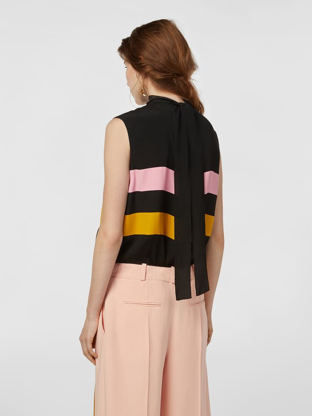 Marni Contrast-band top in washed crepe Woman - 3