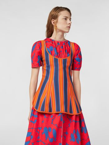 Marni Top in viscose and nylon orange and blue Woman