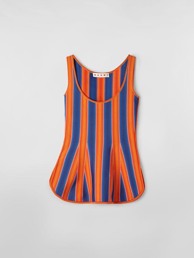 Marni Top in viscose and nylon orange and blue Woman - 2