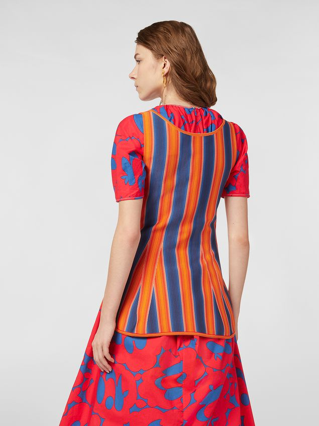 Marni Top in viscose and nylon orange and blue Woman - 3
