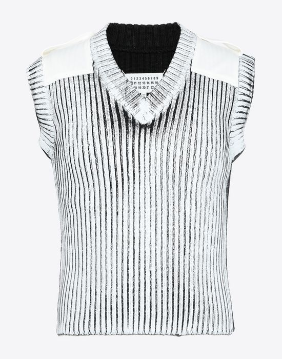 MAISON MARGIELA Laminé wool sleeveless pullover Sleeveless sweater [*** pickupInStoreShippingNotGuaranteed_info ***] f